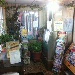 The office at the Rustic Motel contains tourism guides and maps, leisure reading and Vina's plants.